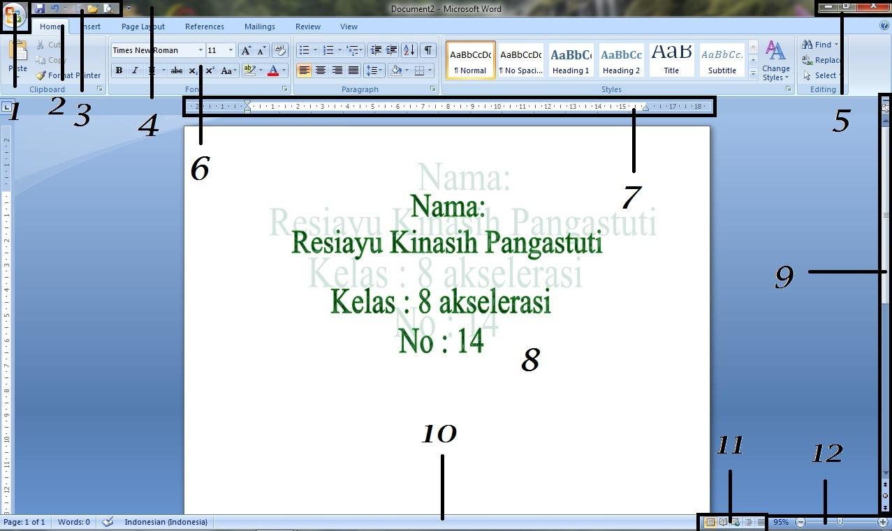 akan dibahas tentang idenfikasi bagian bagian jendela ms word 2007